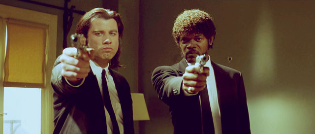 John Travolta und Samuel L. Jackson in ihren Glanzrollen in Pulp Fiction.