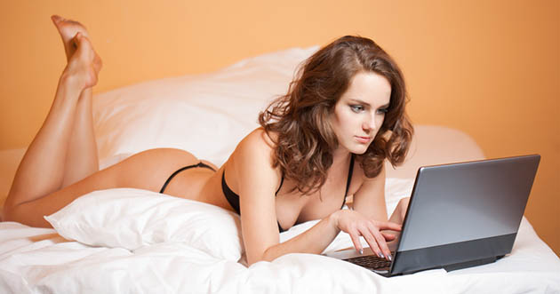 In bed with my laptop.