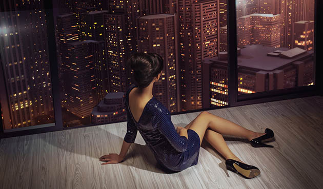 Attractive woman looking at the panorama of the city